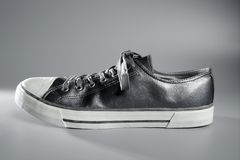Silver sport shoe detail Royalty Free Stock Images