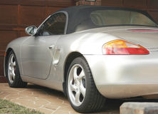 Silver Sports Cabriolet. Silver Sports Cabriolet Parked In The Driveway Stock Photos