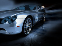 Silver sports car Stock Photos