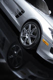 Silver Sports Car. Stock Photography of a Silver Sports Car on a black background Royalty Free Stock Images