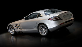 Silver Sports Car 3/4 Rear Stock Images