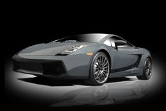 Silver sports car. On a black background Royalty Free Stock Photo