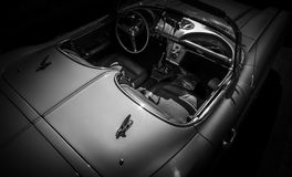SILVER CAR CORVETTE VINTAGE INTERIOR Royalty Free Stock Photography