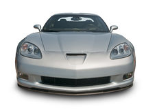 Silver Corvette Front View. A photograph of a American Sports Car on white. Clipping path on vehicle. See my portfolio for more vehicle images Stock Image