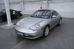 Silver sports car, Porsche 911 Carrera Coupe Royalty Free Stock Images