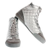 Silver sports footwear Stock Photography