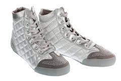 Silver sports footwear Royalty Free Stock Photo