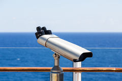 Silver Spotting Scope on Deck of a Cruise Ship Stock Images