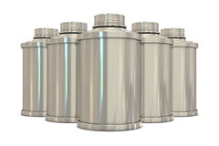 Silver spray cans in group Royalty Free Stock Images