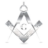 Silver square and compass Royalty Free Stock Photos