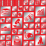 Silver square education icons Royalty Free Stock Image
