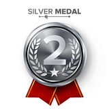Silver 2st Place Medal Vector. Metal Realistic Badge With Second Placement Achievement. Round Label With Red Ribbon, Laurel Wreath Royalty Free Stock Photography