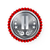 Silver 2st Place Rosette, Badge, Medal Vector. Realistic Achievement With Best Second Placement. Round Championship Label With Red Royalty Free Stock Photography