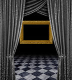 Silver stage golden frame Royalty Free Stock Photo