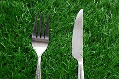 Silver stainless steel of fork and knife. On artificial grass Royalty Free Stock Photography