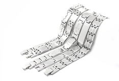 Silver stainless steel men's bracelet Stock Photo