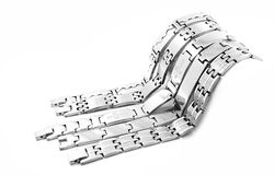 Silver stainless steel men's bracelet Royalty Free Stock Photo