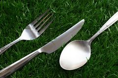 Silver stainless steel of spoon fork knife. On artificial grass Royalty Free Stock Photo