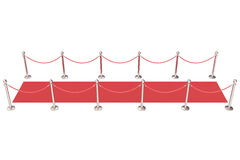 Silver stanchions and a red velvet carpet. 3d illustration Stock Photo