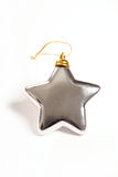 Silver star. Image of silver christmas tree star on a white background Royalty Free Stock Photos