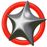 Silver star 3d Stock Image