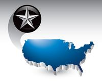 Silver star around united states icon Royalty Free Stock Photography