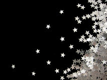 Silver star background. Silver stars on black background, right Royalty Free Stock Photos