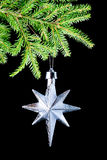 Silver star on black background, Royalty Free Stock Photo
