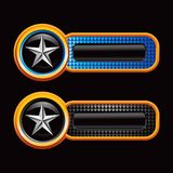 Silver star on blue and black checkered tabs Stock Photo