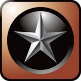 Silver star in brown web button Stock Images