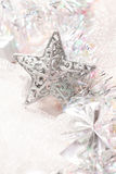 Silver star christmas decorations Stock Photo