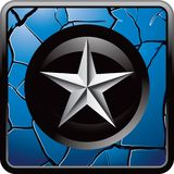 Silver star cracked blue web button Stock Photo