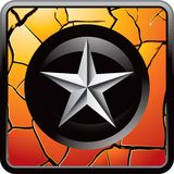Silver star on cracked gold web button Royalty Free Stock Image