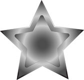 Silver star. Drawing with metal gleam Royalty Free Stock Photo
