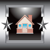 Silver star frame with brick house Stock Photography