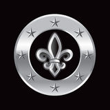 Silver star frame with a fleur de lis icon Stock Photos