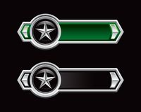 Silver star on green and black arrows Stock Images