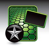 Silver star on green hexagon advertisement Stock Image