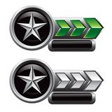 Silver star on green and white arrow nameplates Stock Photo