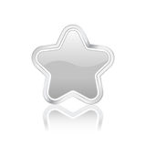 Silver star icon. With metal contour, isolated on white background. Vector illustration