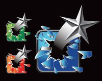 Silver star on multicolored broken glass web icons Stock Image