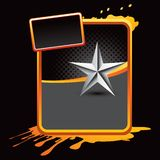 Silver star with orange splattered banner Stock Photos