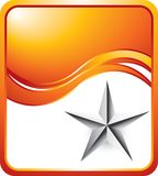 Silver star on orange wave background Royalty Free Stock Photography