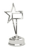 Silver star prize on pedestal Stock Photo
