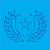 Silver star shield blueprint Royalty Free Stock Images