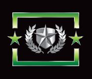 Silver star on shield on green star backdrop Stock Photos