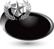 Silver star shield on silver swoosh icon Royalty Free Stock Image