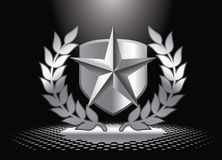 Silver star and shield under spotlight Royalty Free Stock Images