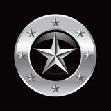 Silver star in silver star frame Royalty Free Stock Photos