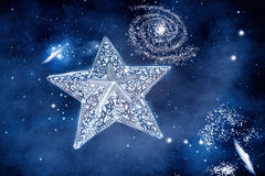 Silver star with space background Royalty Free Stock Photos